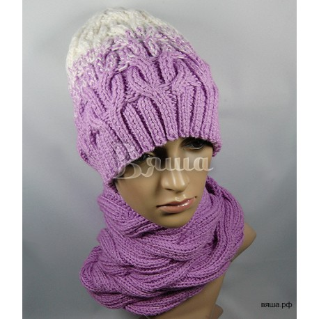 """Комплект """"Сиреневый романс"""" сиреневый: шапка и снуд, женский, вязаный, зимний"""