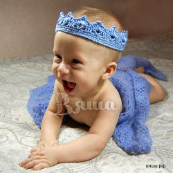 """Комплект """"Морской король"""" для фотосессии, сиренево-голубые тона: корона и плед вязаные, для мальчиков"""