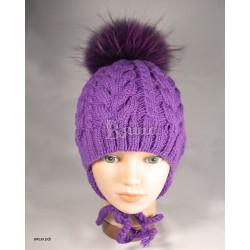"""Шапочка """"цвета Крокус"""", фиолетовая, с помпоном из енота, вязаная, детская, зимняя, для девочки"""