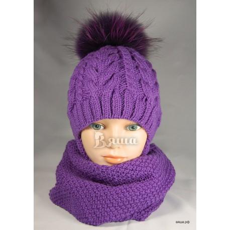 """Комплект """"цвета Крокус"""" фиолетовый: шапка с меховым помпоном и снуд вязаные, зимние, для девочек"""