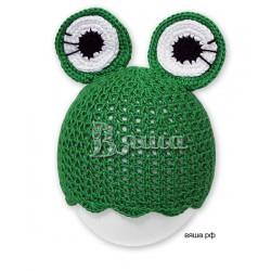 """Шапочка """"Весёлый лягушонок"""" для фотосессии, зелёная, вязаная, детская, для мальчика, для фотосессии"""