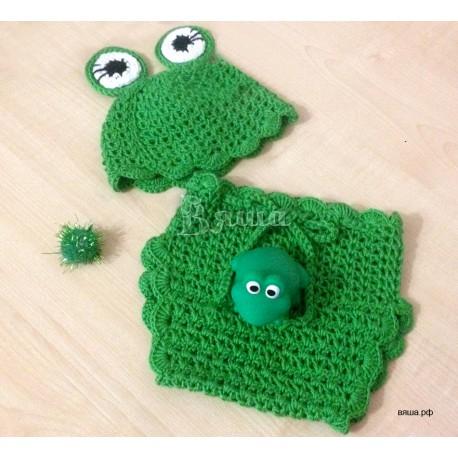 """Комплект """"Весёлый лягушонок"""" для фотосессии, зелёный: шапочка и трусики вязаные, для мальчиков"""