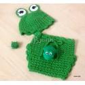 """Комплект """"Весёлый лягушонок"""" для фотосессии, зелёный: шапочка и трусики вязаные, для мальчиков и девочек"""