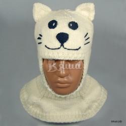 """Шапка-шлем """"Кот Зефир"""", молочный, вязаный, с тёмно-синими деталями, для мальчика, зимний"""