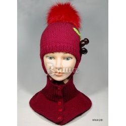 """Комплект """"Вишня"""" бордовый: шапка с помпоном и манишка вязаные, зимние, для девочек"""