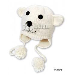 """Шапочка """"Медвежонок Умка"""", молочная, вязаная, детская, для мальчиков и девочек, зимняя"""