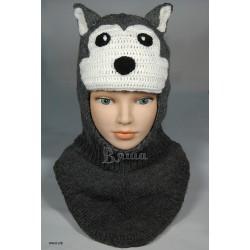 """Шапка-шлем """"Серый Волк"""", тёмно-серая, вязаная, для мальчика, зимняя"""