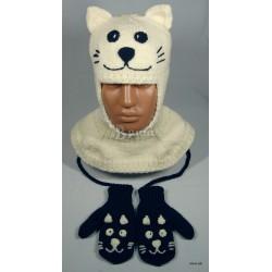 """Комплект """"кот Зефир"""" молочный - тёмно-синий: шапка-шлем и варежки вязаные, зимние, для мальчиков"""