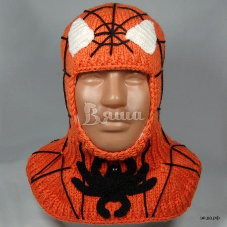"""Шапка-шлем """"Человек-Паук"""", оранжевый, вязаный, для мальчика, зимний"""