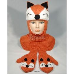 """Комплект """"Лисичка"""" оранжевый: шапка-шлем и варежки вязаные, зимние, для девочек"""