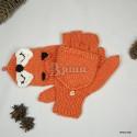 """Варежки-трансформеры """"Рыжие плутовки"""" женские, оранжевые, зимние, вязаные"""