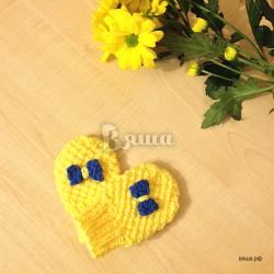 """Варежки - царапки """"Солнечные"""", жёлтые, вязаные, детские, осенние, весенние, для девочек"""