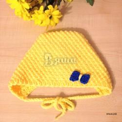 """Чепчик """"Солнечный"""" жёлтый, вязаный, для новорожденных девочек, осенний, весенний"""