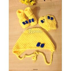 """Комплект """"Солнечный"""" жёлтый: чепчик, пинетки, варежки - царапки вязаные, осенние, весенние, для девочек"""