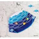 """Панамка - кепка """"Море"""", белая, голубая, синяя, вязаная, для мальчиков, летняя"""
