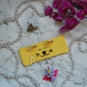 """Повязка """"Киска"""" на голову, светло-жёлтая, вязаная, детская, для девочки, весенняя, осенняя, летняя"""