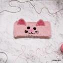 """Повязка """"Котёнок"""" на голову, нежно-розовая, вязаная, детская, для девочки, весенняя, осенняя, летняя"""