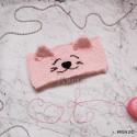 """Повязка """"Кисонька"""" на голову, нежно-розовая, вязаная, детская, для девочки, весенняя, осенняя, летняя"""