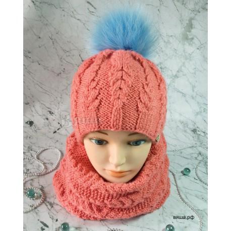 """Комплект """"Цветок моря"""" коралловый: шапка с меховым помпоном и снуд вязаные, зимние, для девочек"""