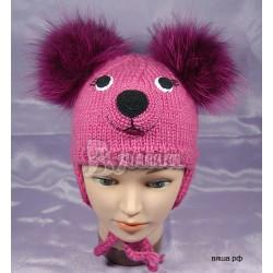"Шапочка ""Медвежонок Маша"", малинового цвета (фуксии), вязаная, для девочки, зимняя"