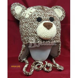 """Шапочка """"Мишка Тедди"""", коричневый с белым, вязаная, для мальчика и девочки, зимняя"""