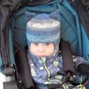 """Шапка-шлем """"Джинсовая"""", с ушками, меланжевая с синими оттенками, вязаная, для мальчика, осенняя, весенняя"""