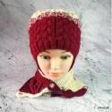 """Комплект """"Вишнёвое мороженое"""" молочно-бордовый шапка и шарф, детские, вязаные, зимние, для девочек"""