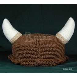 """Шапка """"Шлем викинга"""", коричневая, вязаная, мужская, осенняя"""