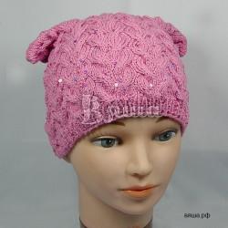 """Шапочка """"С косами и пайетками"""",розовая, вязаная, для девочки, осенняя, весенняя"""