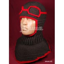 """Шапка-шлем """"Лётчик"""", коричневый, с красной окантовкой, вязаный, для мальчика, зимний"""