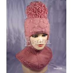"""Шапка-шлем """"Пиончик"""", бледно-розовый, с помпоном Вяша"""