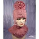 """Шапка-шлем """"Пиончик"""", бледно-розовый, жемчужные бусины, вязаный, для девочки, зимний"""