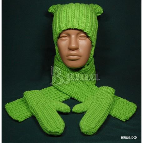 """Комплект """"Яркий"""": шапка, варежки и шарф, салатовый, вязаный Вяша"""