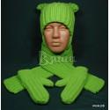 """Комплект вязаный """"Яркий"""": шапка, шарф и варежки, салатовый, для мальчиков и девочек, зимний"""
