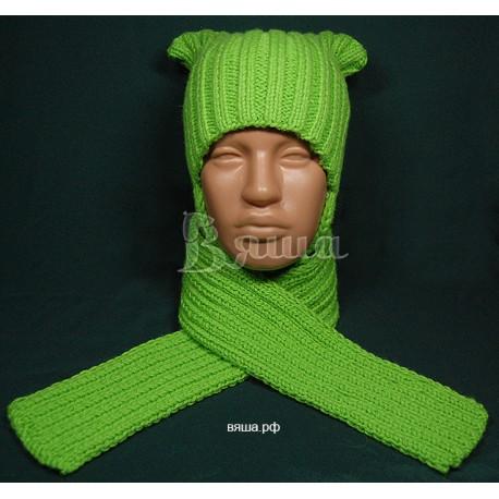"""Комплект """"Яркий"""": шапка и шарф, салатовый, вязаный Вяша"""