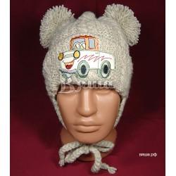 """Шапочка """"Весёлый грузовичок"""" детская, вязаная, серо-бежевая, для мальчиков, зимняя"""