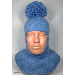 """Шапка-шлем """"Стиль и удобство"""", с помпоном, синий, вязаный, для мальчика, зимний"""