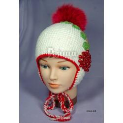 """Шапочка """"Рябина"""", белая, с помпоном из натурального меха, детская, зимняя, для девочек"""
