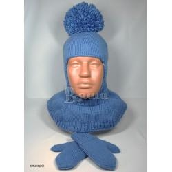 """Комплект """"Стиль и удобство"""" синий: шапка-шлем и варежки, детские вязаные, зимние, для мальчиков или девочек"""