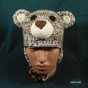 """Шапочка """"Мишка Тедди"""", коричневый с белым, вязаная, для мальчика и девочки, осенняя, весенняя"""