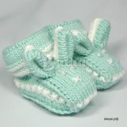 """Пинетки """"Зайчишки"""" мятного цвета, вязаные, детские, для мальчиков и девочек Вяша"""