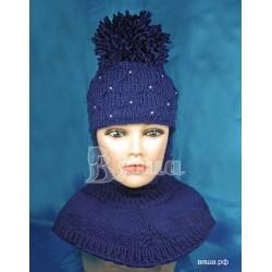 """Шапка-шлем """"Пиончик"""",темно-синий, с помпоном, вязаный, для девочки, зимний"""