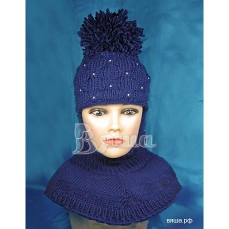 """Шапка-шлем """"Пиончик""""темно-синий, с помпоном Вяша"""