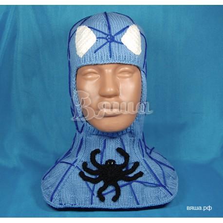 """Шапка-шлем """"Человек-Паук"""", вязаный, синий Вяша"""
