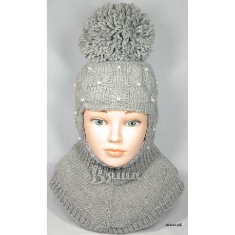 """Шапка-шлем """"Пиончик"""" серая, с помпоном Вяша"""