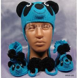 """Комплект """"Мишка Панда"""" синий: шапка зимняя и пинетки вязаные, зимние, для мальчиков"""