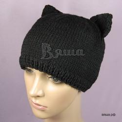 Женская зимняя шапка Киска, черная Вяша