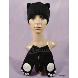 """Комплект """"Киска"""": шапка и варежки женские, вязаные, черные, зимние"""