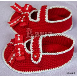 """Пинетки """"Алые туфельки"""" красные, вязаные, детские, для девочек"""