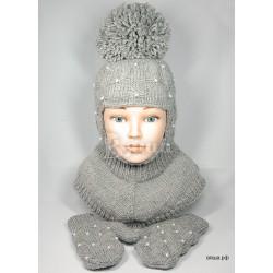 """Комплект """"Пиончик"""" серый: шапка-шлем и варежки, детские, вязаные, зимние, для девочек"""